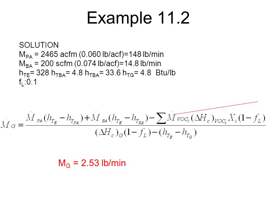 Example 11.2 MG = 2.53 lb/min SOLUTION