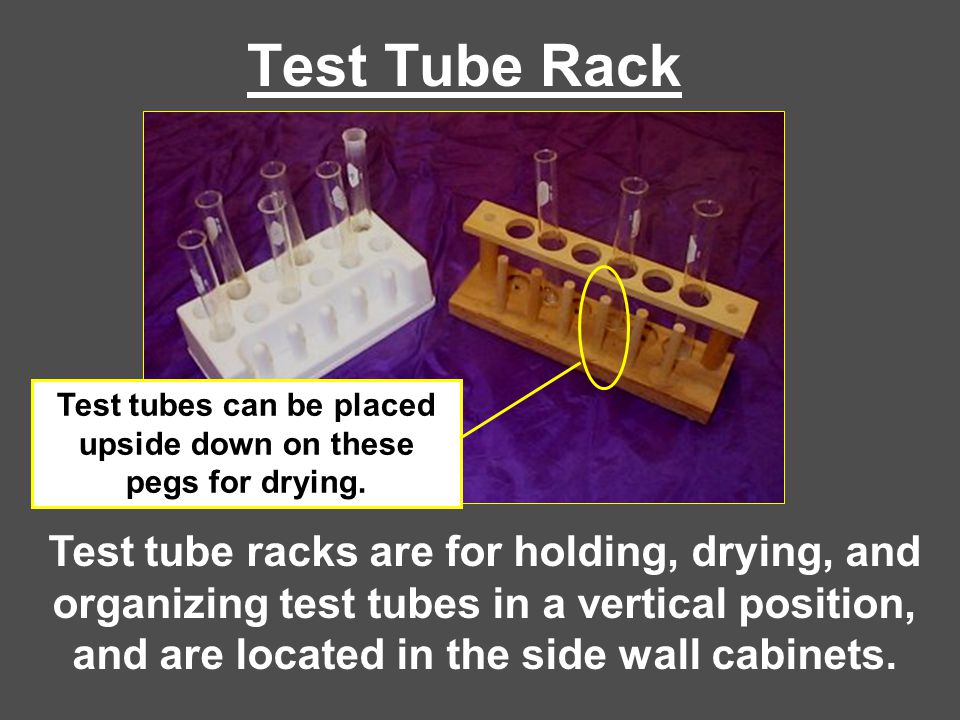 Test tubes can be placed upside down on these pegs for drying.