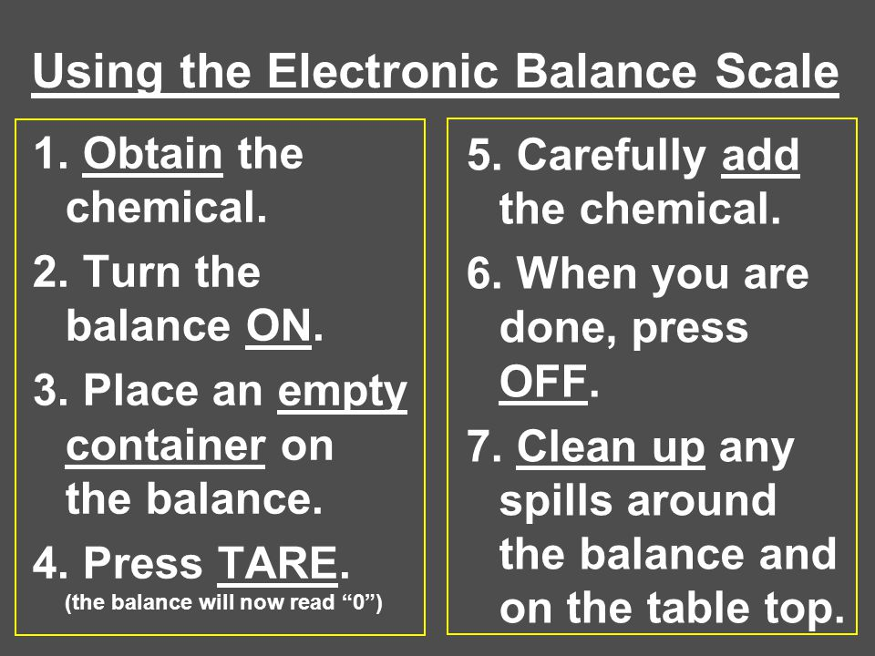 Using the Electronic Balance Scale