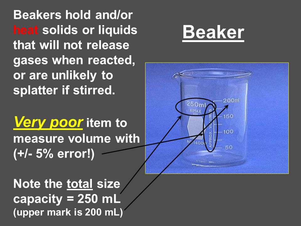 Beaker Very poor item to measure volume with (+/- 5% error!)