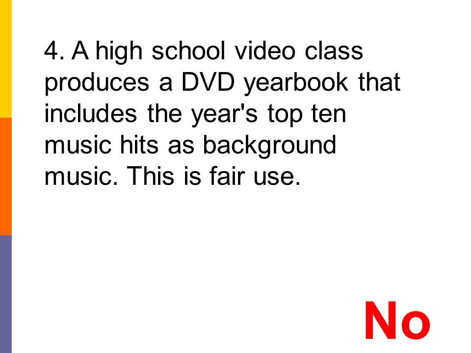 4. A high school video class produces a DVD yearbook that includes the year s top ten music hits as background music. This is fair use.