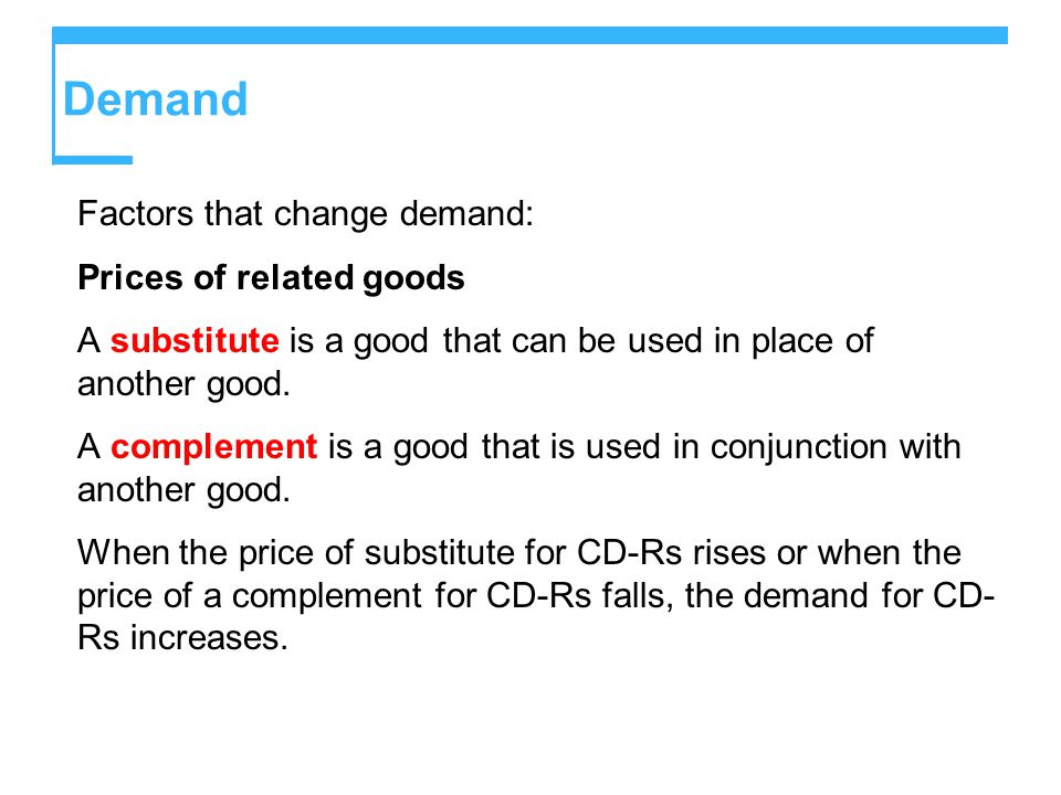 Demand Factors that change demand: Prices of related goods