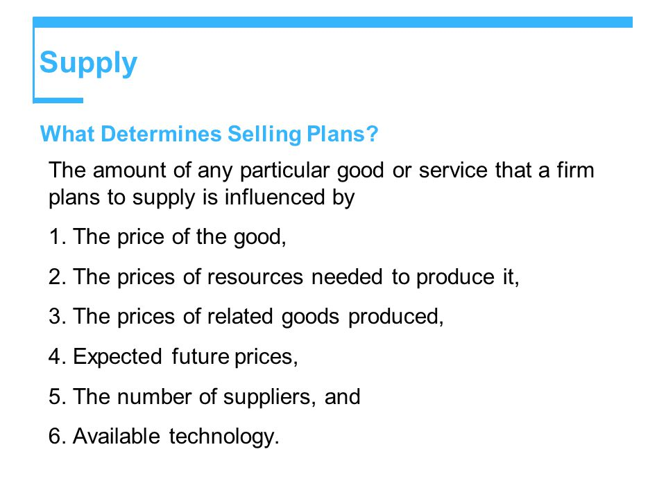 Supply What Determines Selling Plans