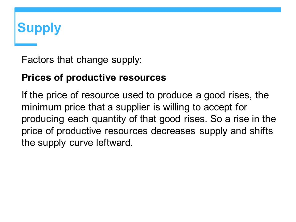Supply Factors that change supply: Prices of productive resources