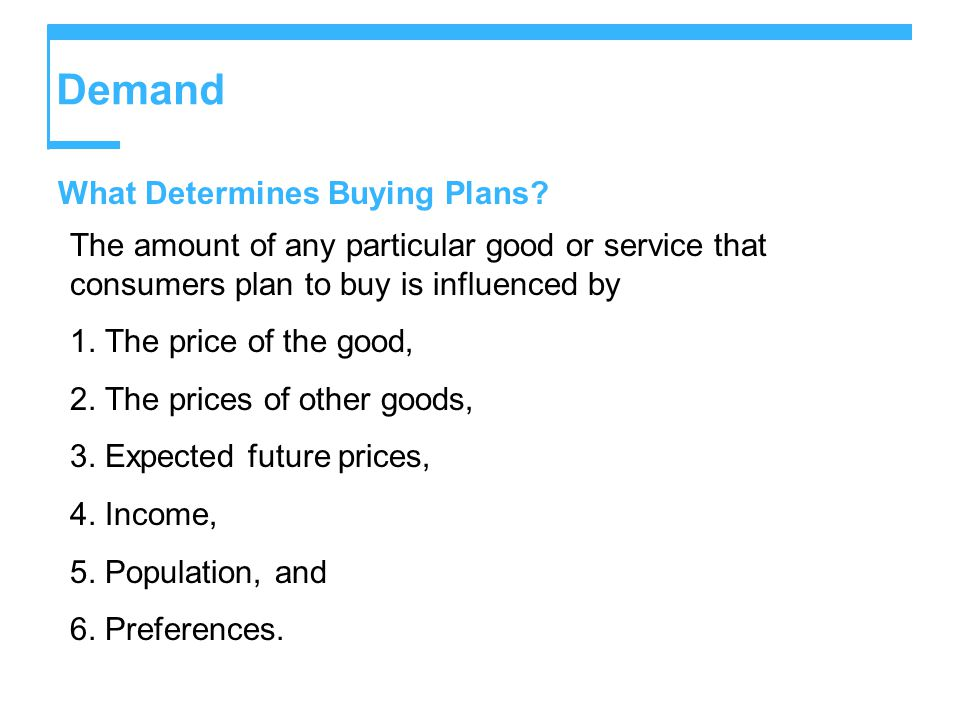 Demand What Determines Buying Plans