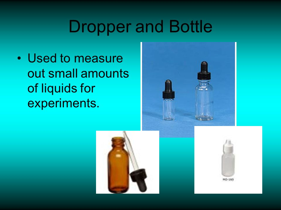 Dropper and Bottle Used to measure out small amounts of liquids for experiments.