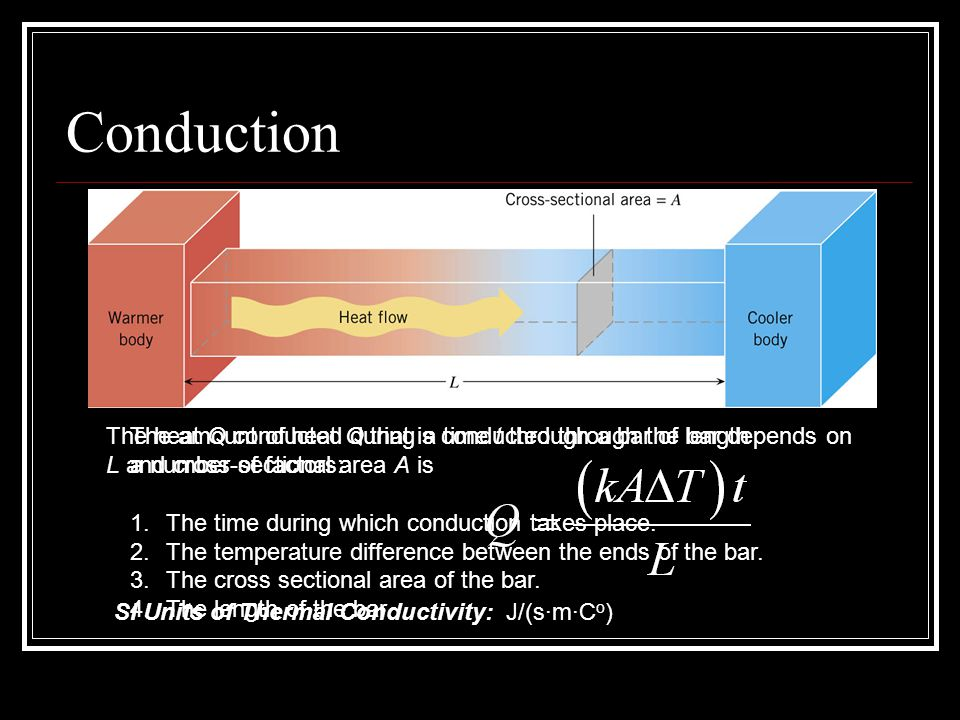 Conduction The heat Q conducted during a time t through a bar of length. L and cross-sectional area A is.
