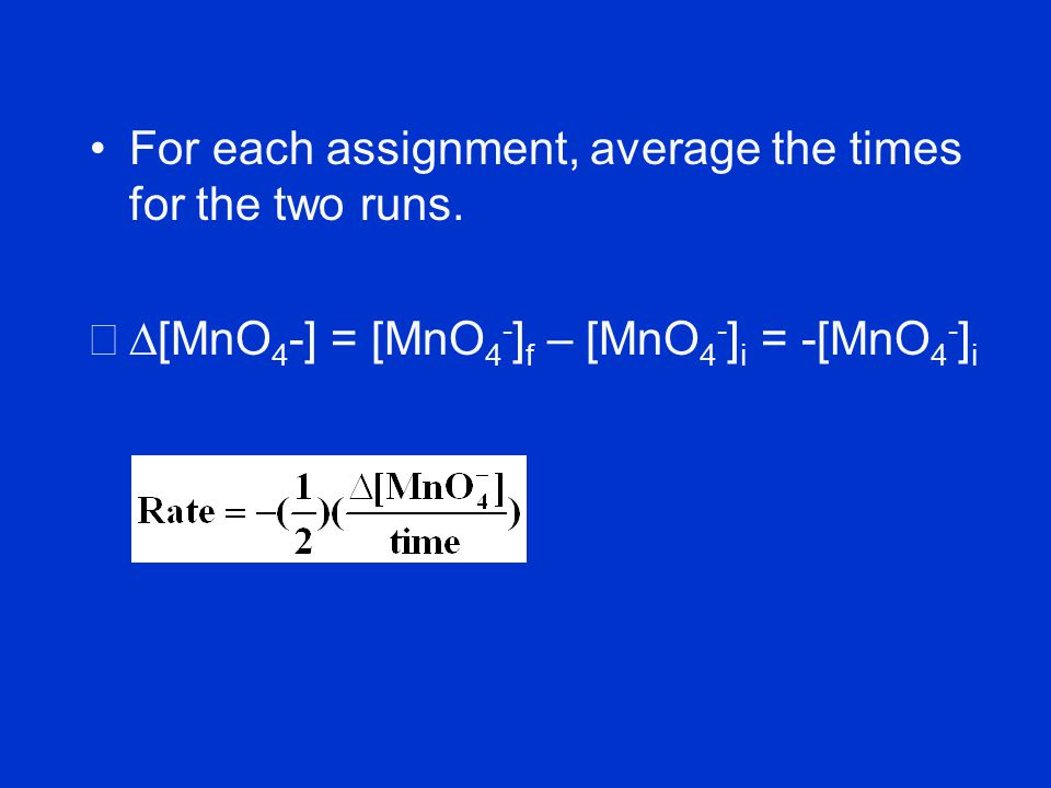 For each assignment, average the times for the two runs.