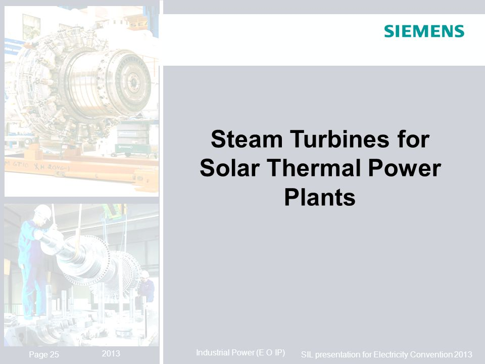 Steam Turbines for Solar Thermal Power Plants