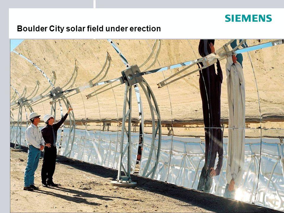 Boulder City solar field under erection