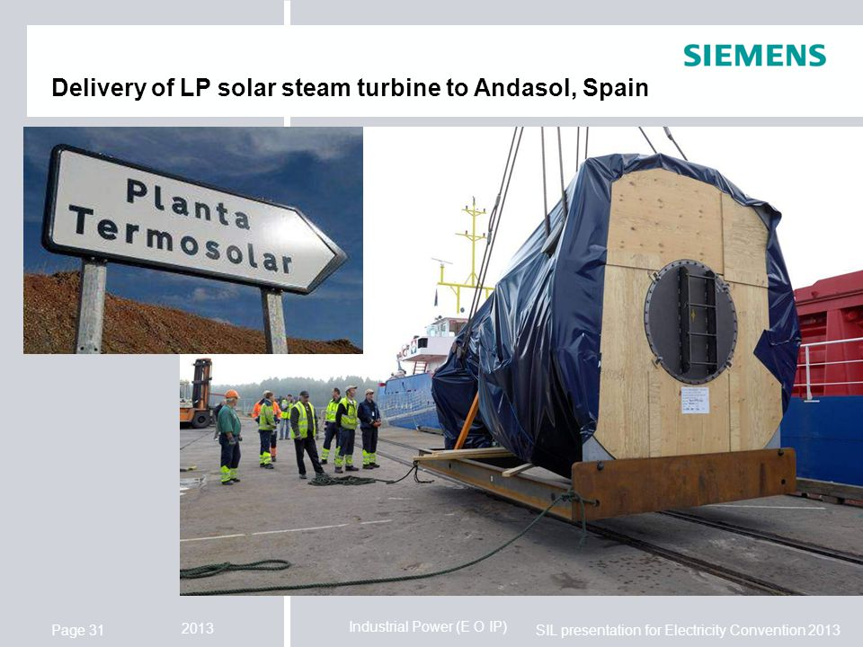 Delivery of LP solar steam turbine to Andasol, Spain