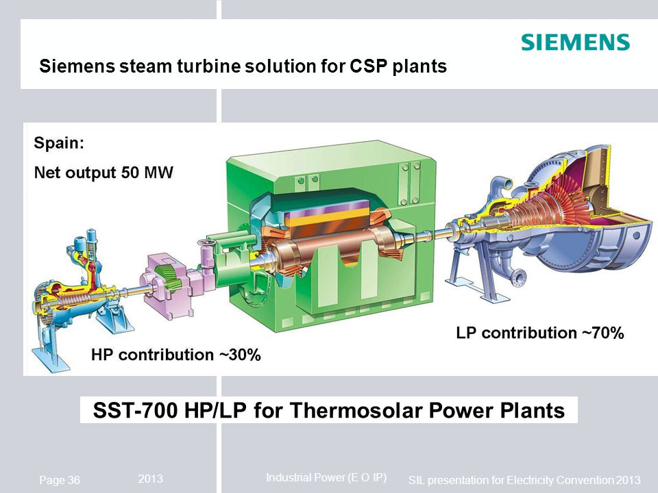 Siemens steam turbine solution for CSP plants