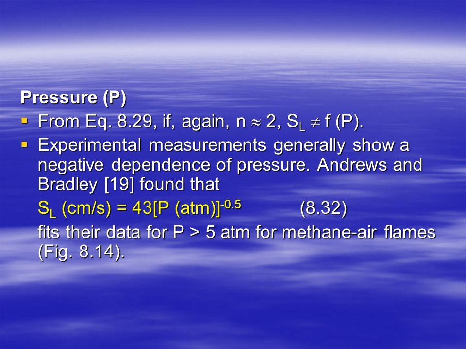 Pressure (P) From Eq. 8.29, if, again, n  2, SL  f (P).
