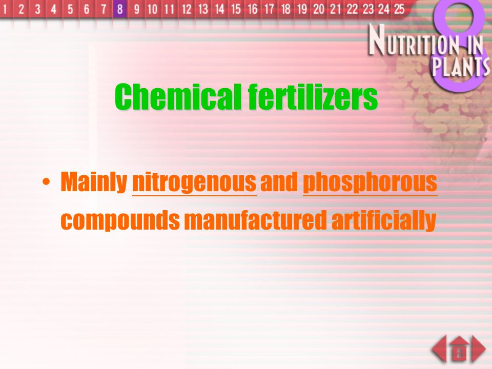 Chemical fertilizers Mainly nitrogenous and phosphorous compounds manufactured artificially
