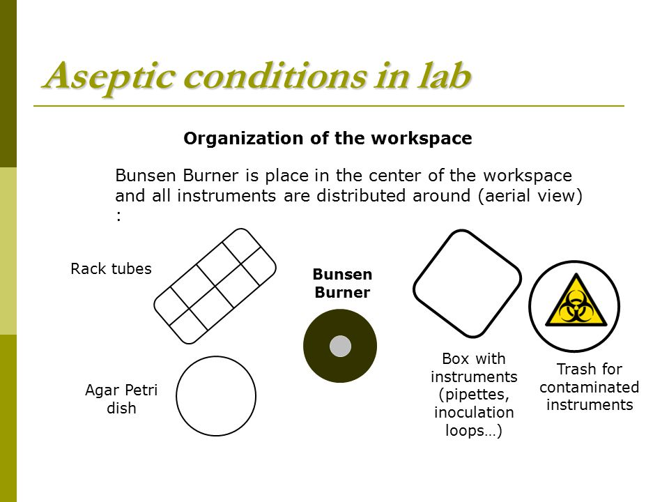 Aseptic conditions in lab
