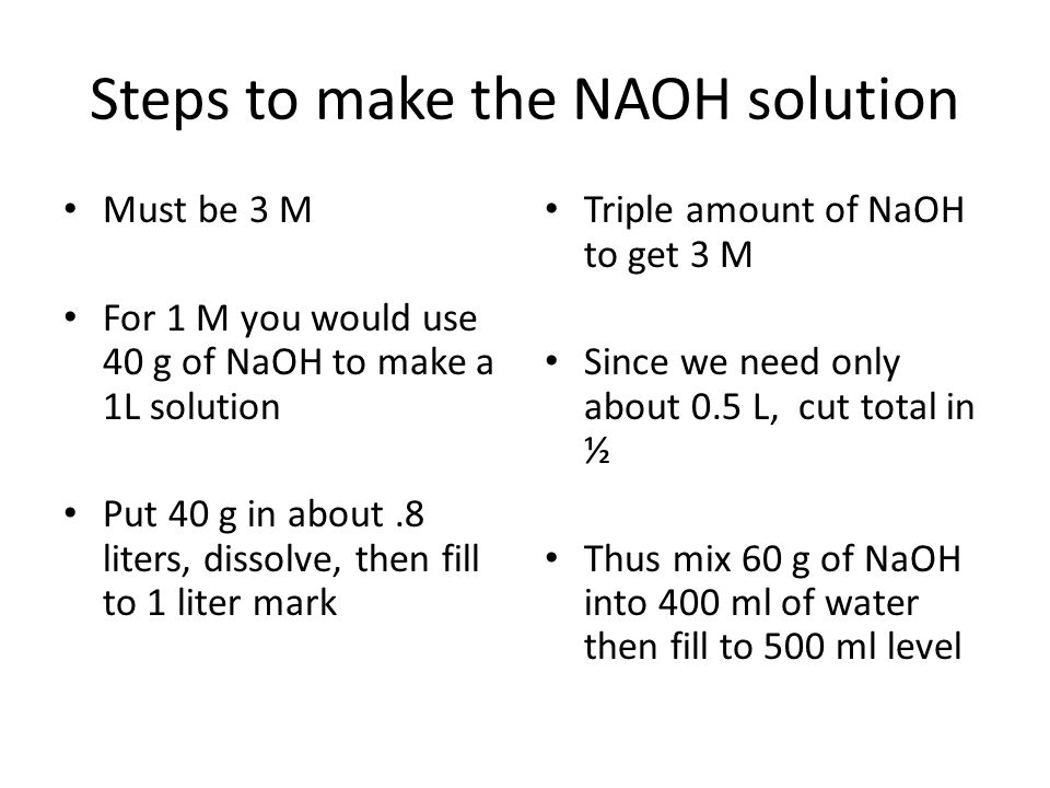 Steps to make the NAOH solution