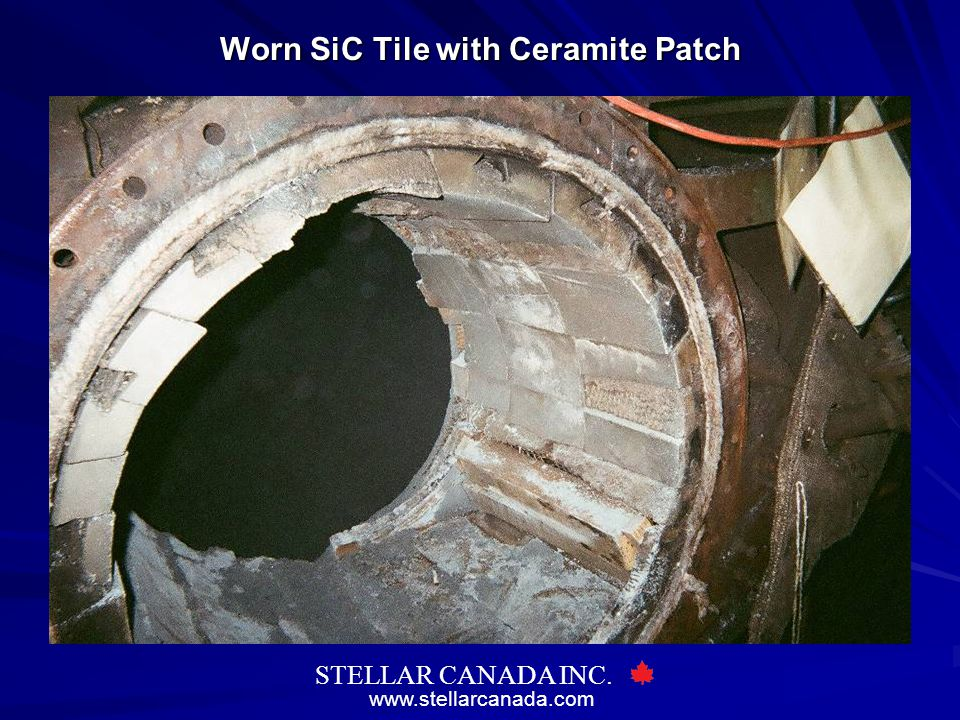 Worn SiC Tile with Ceramite Patch