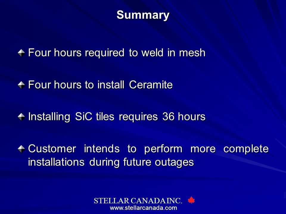 Summary Four hours required to weld in mesh