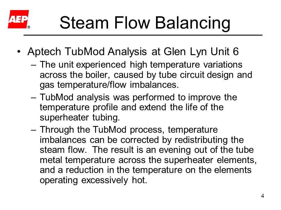Steam Flow Balancing Aptech TubMod Analysis at Glen Lyn Unit 6