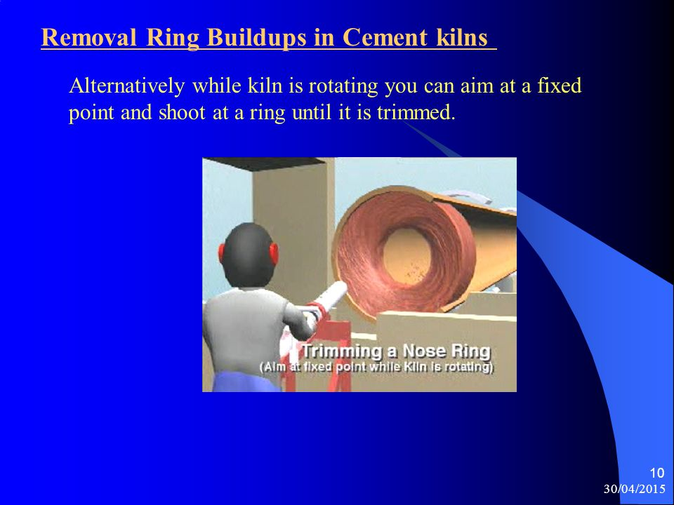 Removal Ring Buildups in Cement kilns