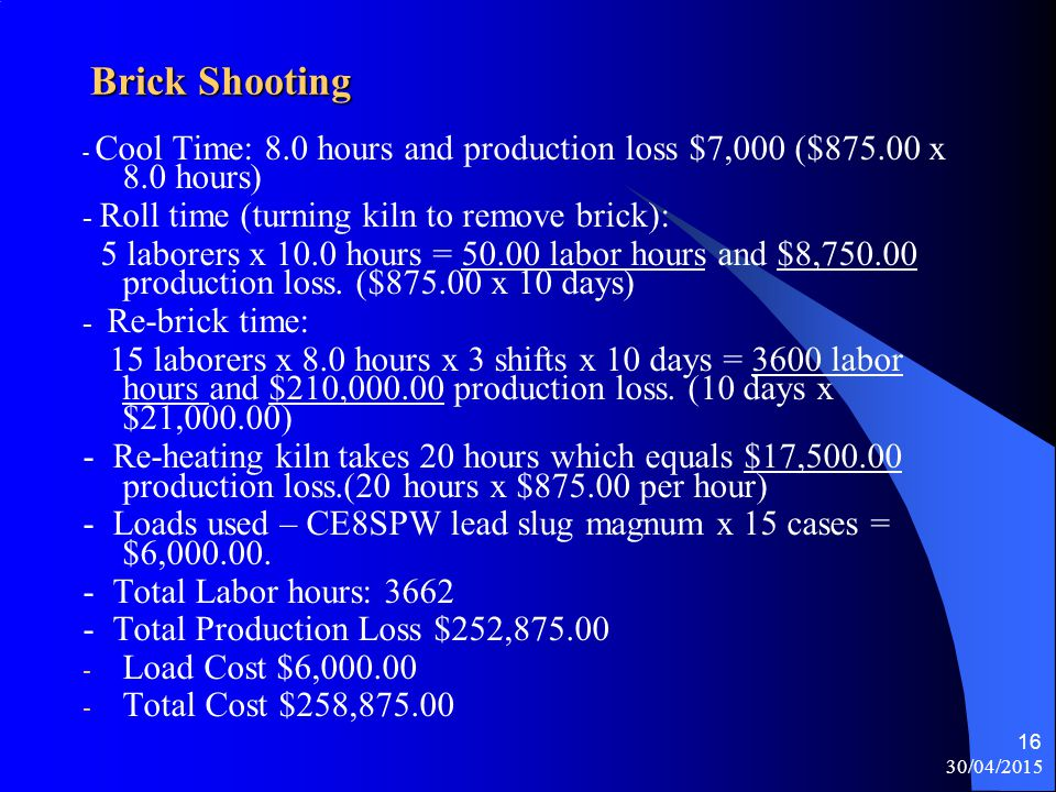 13/04/2017 Brick Shooting. - Cool Time: 8.0 hours and production loss $7,000 ($875.00 x 8.0 hours)