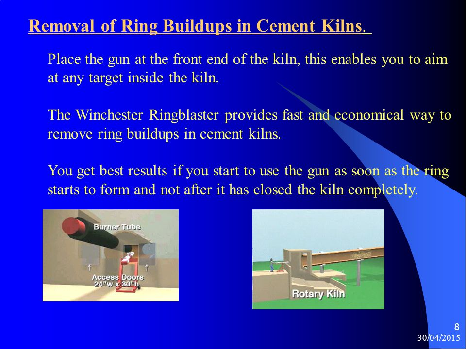 Removal of Ring Buildups in Cement Kilns.