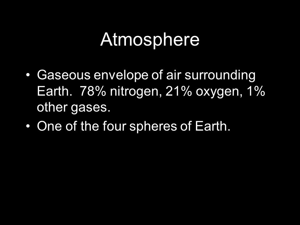 Atmosphere Gaseous envelope of air surrounding Earth.