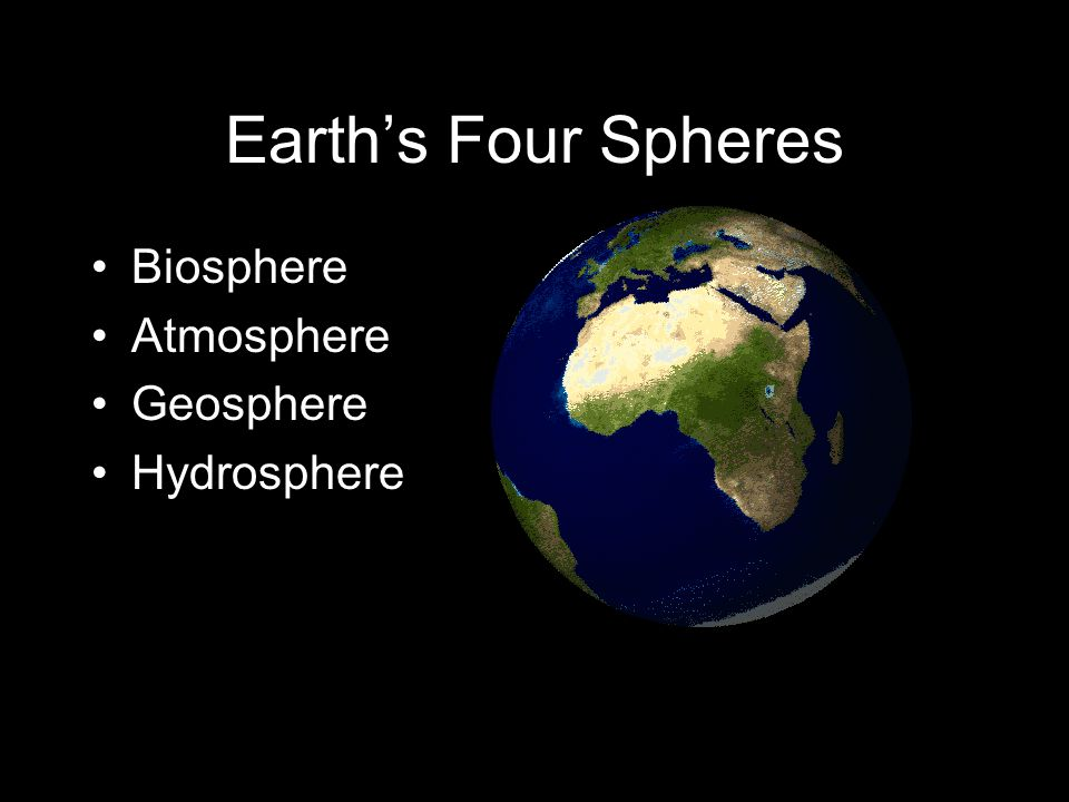 Earth's Four Spheres Biosphere Atmosphere Geosphere Hydrosphere