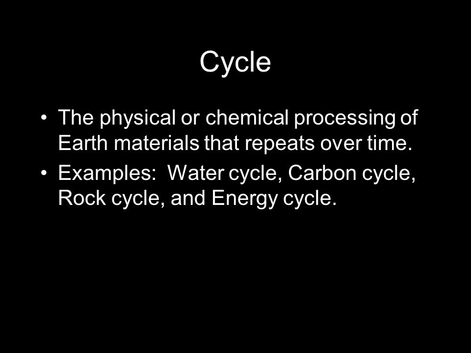 Cycle The physical or chemical processing of Earth materials that repeats over time.