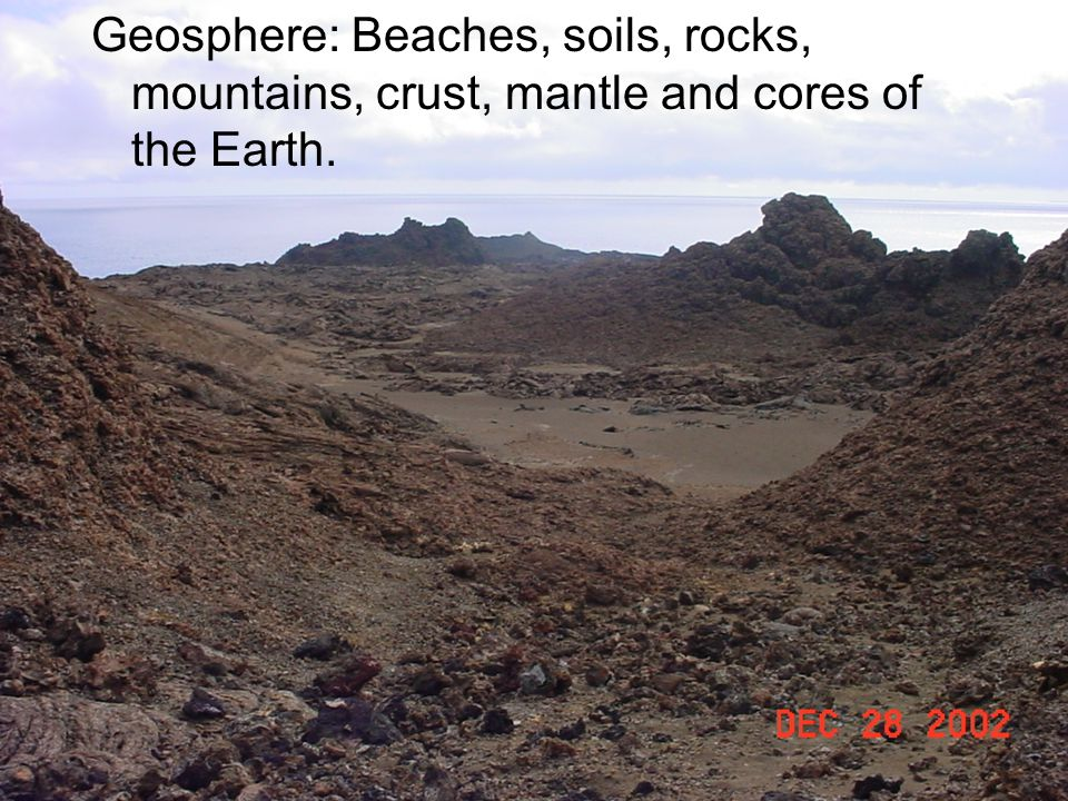 Geosphere: Beaches, soils, rocks, mountains, crust, mantle and cores of the Earth.