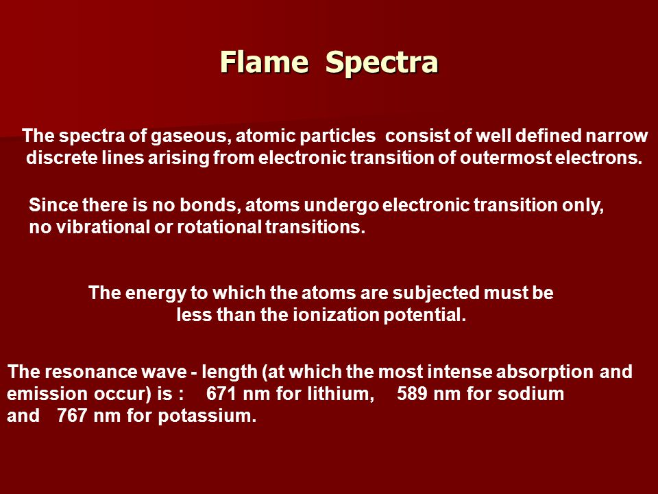 Flame Spectra The spectra of gaseous, atomic particles consist of well defined narrow.