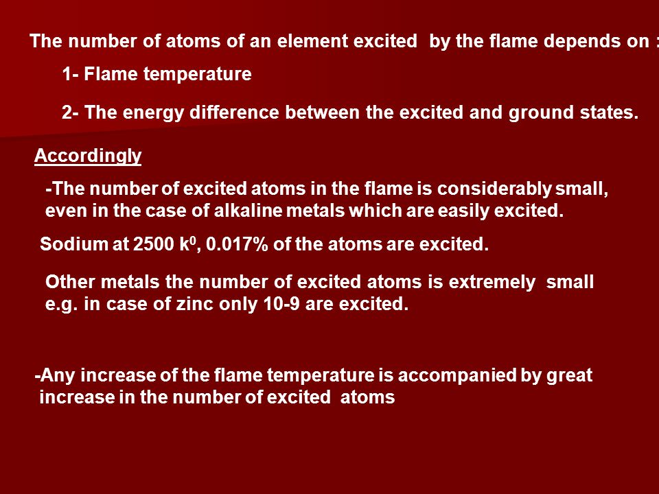 The number of atoms of an element excited by the flame depends on :