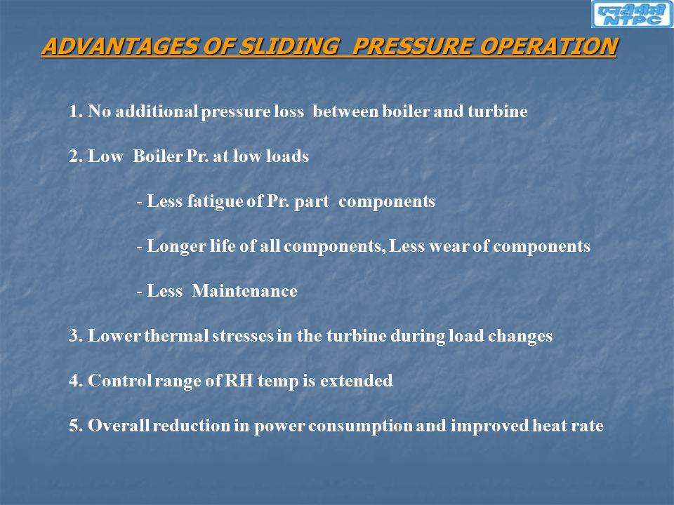 ADVANTAGES OF SLIDING PRESSURE OPERATION