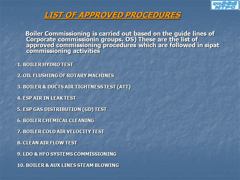 LIST OF APPROVED PROCEDURES