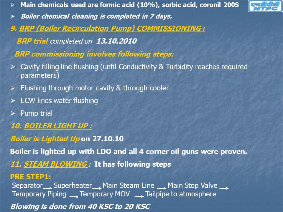 9. BRP (Boiler Recirculation Pump) COMMISSIONING :