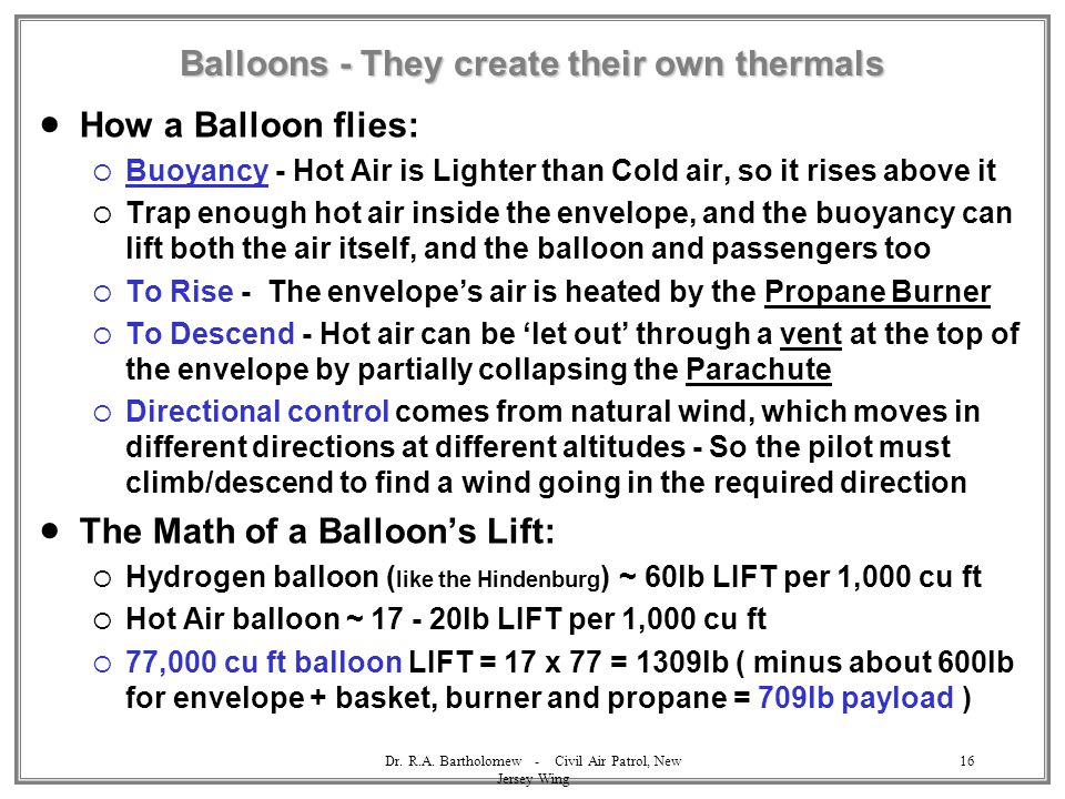 Balloons - They create their own thermals
