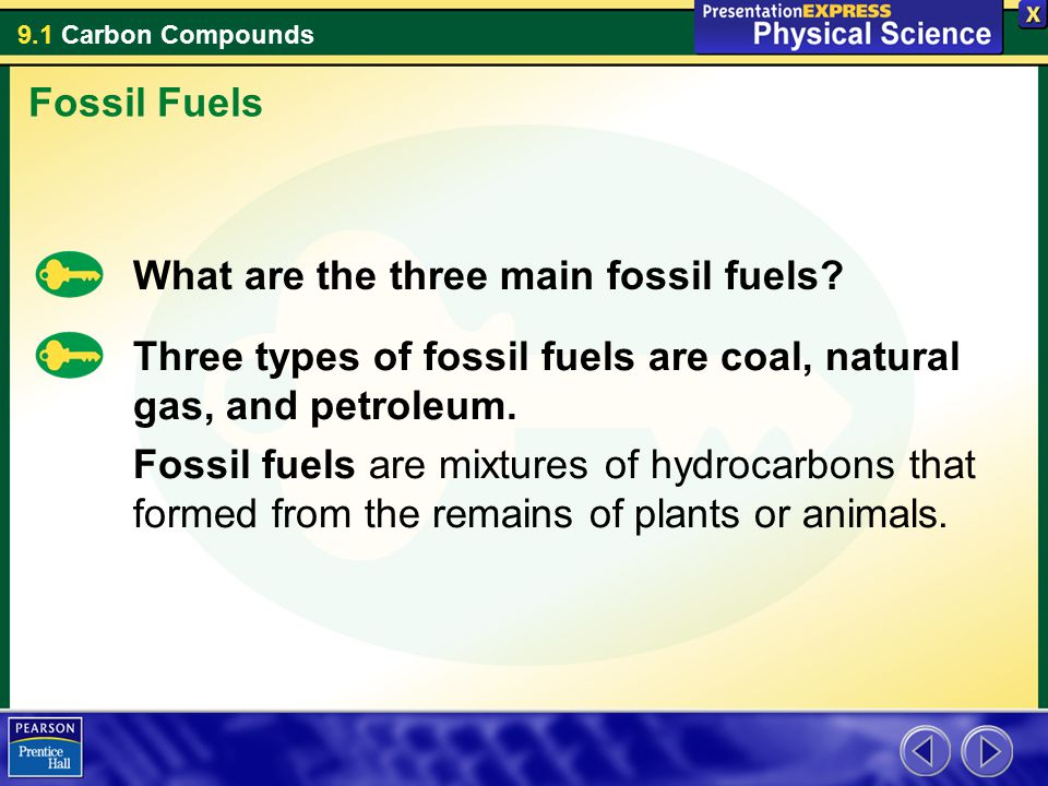 Fossil Fuels What are the three main fossil fuels Three types of fossil fuels are coal, natural gas, and petroleum.