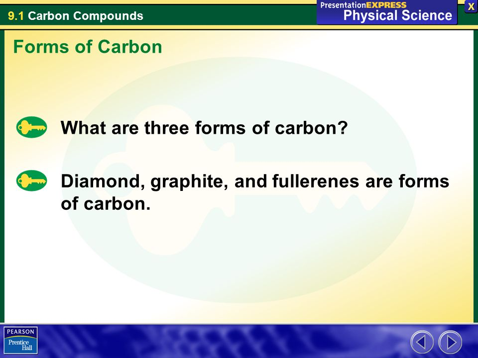Forms of Carbon What are three forms of carbon.