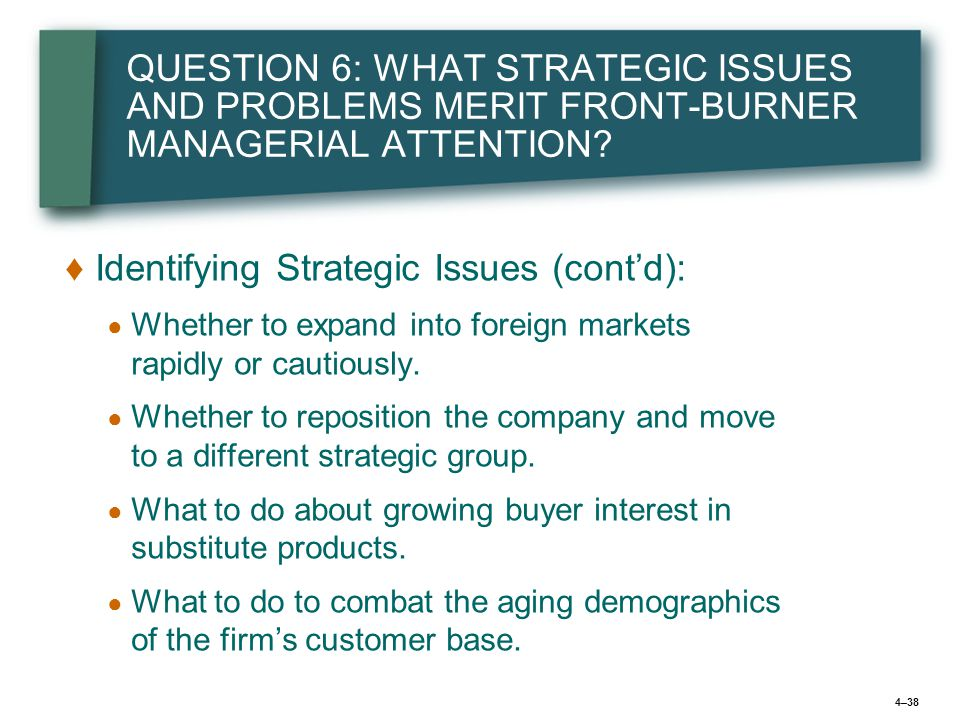 the strategic issues and problems Chapter 3: organizational the specific issues/problems they face the following examples illustrate the strategic thinking and approaches two.