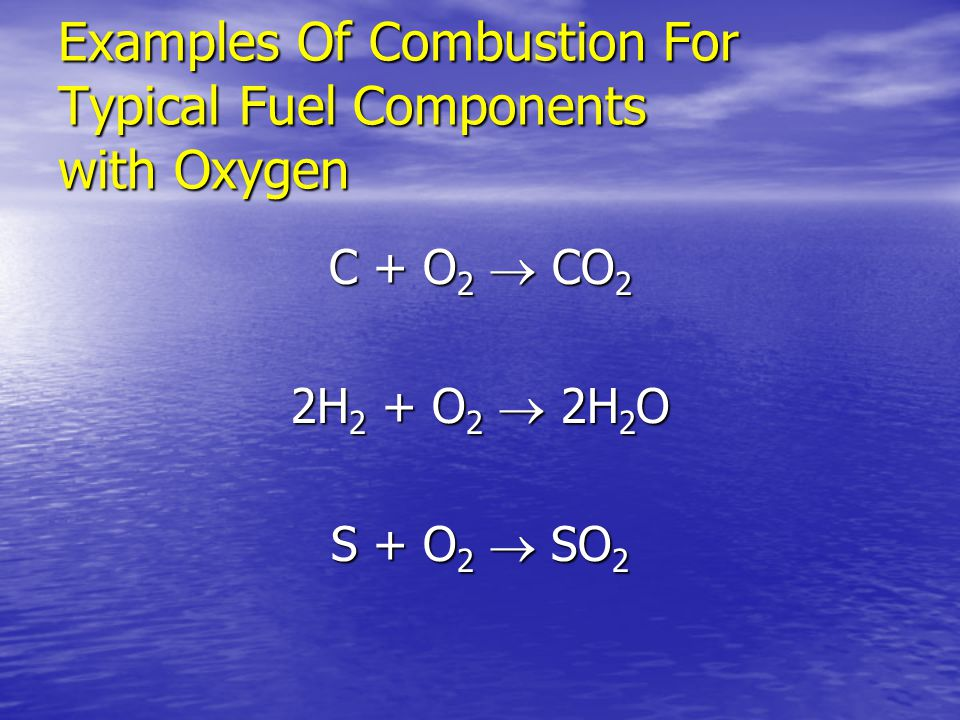 Examples Of Combustion For Typical Fuel Components with Oxygen