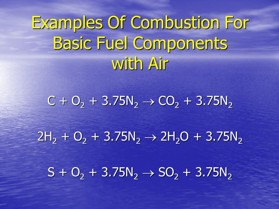 Examples Of Combustion For Basic Fuel Components with Air