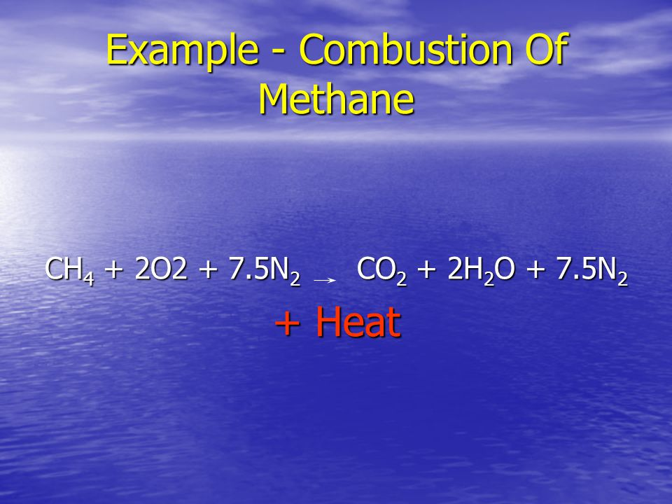 Example - Combustion Of Methane
