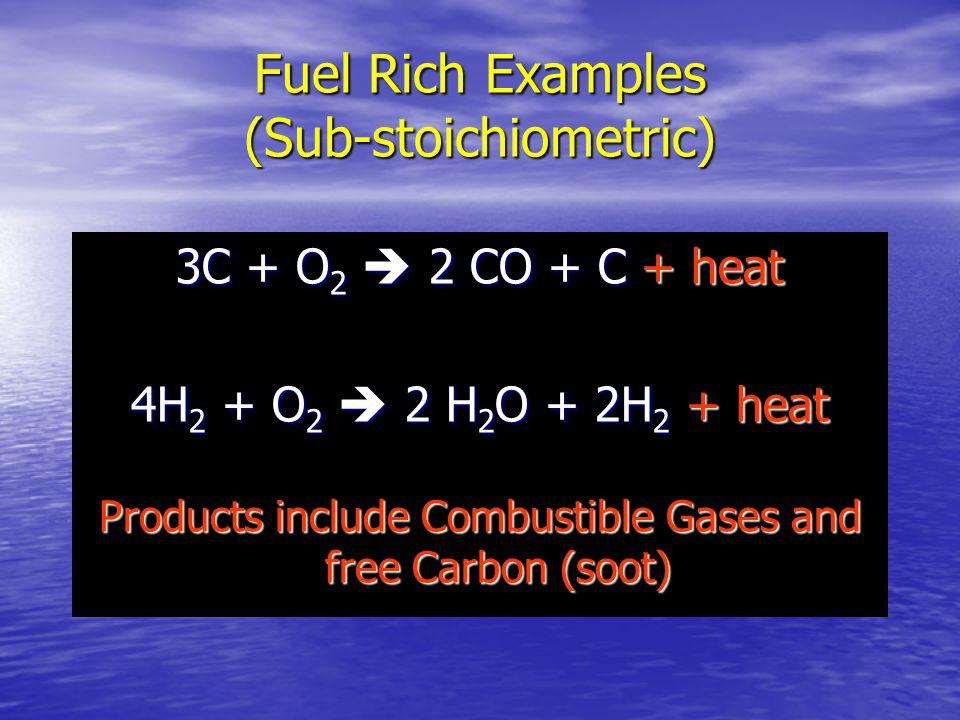 Fuel Rich Examples (Sub-stoichiometric)