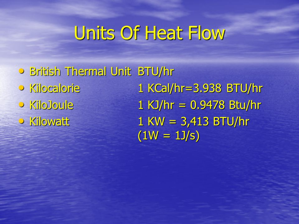 Units Of Heat Flow British Thermal Unit BTU/hr