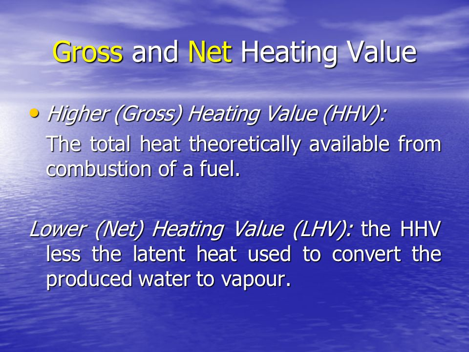 Gross and Net Heating Value