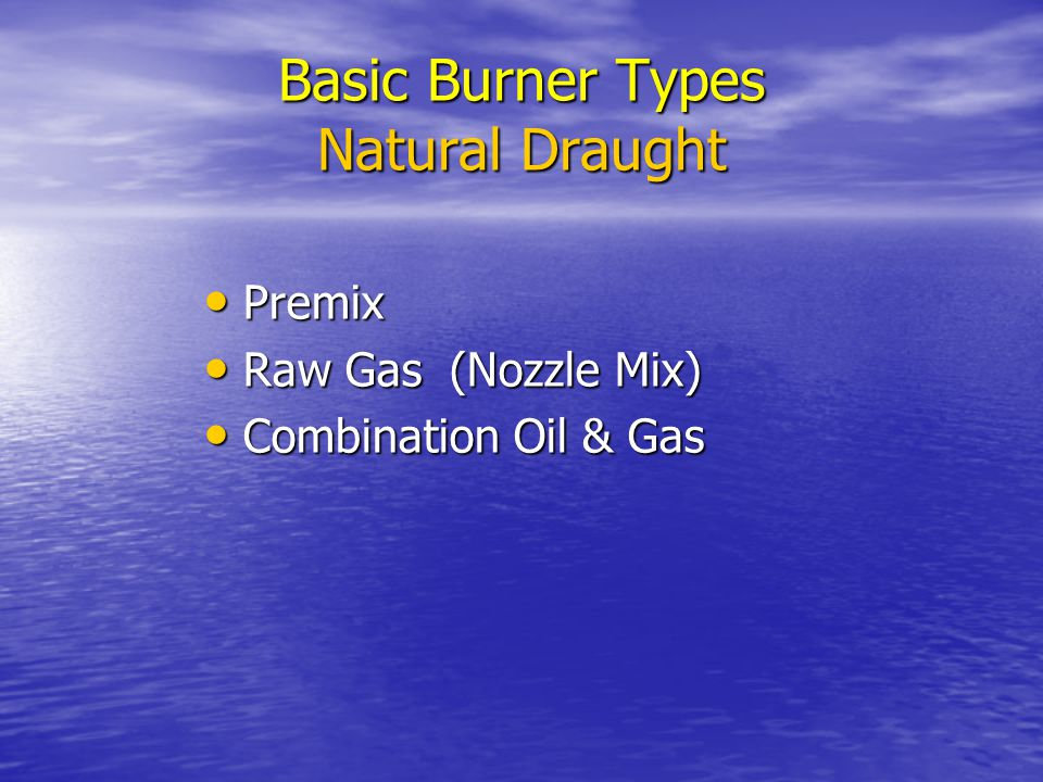 Basic Burner Types Natural Draught