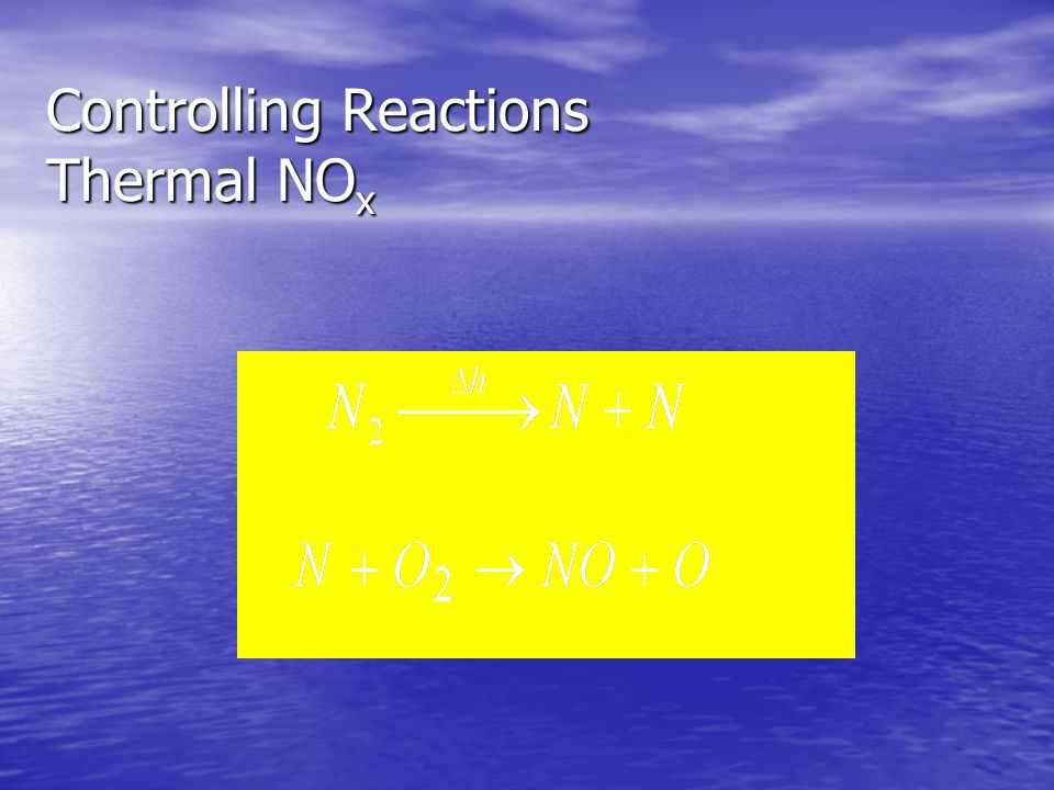 Controlling Reactions Thermal NOx