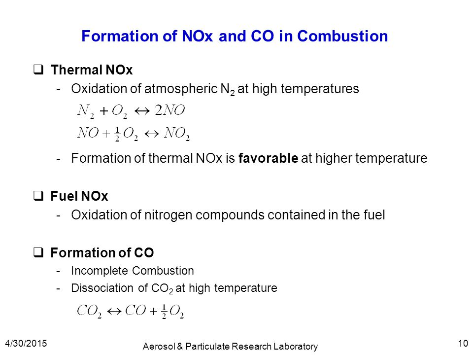 Formation of NOx and CO in Combustion