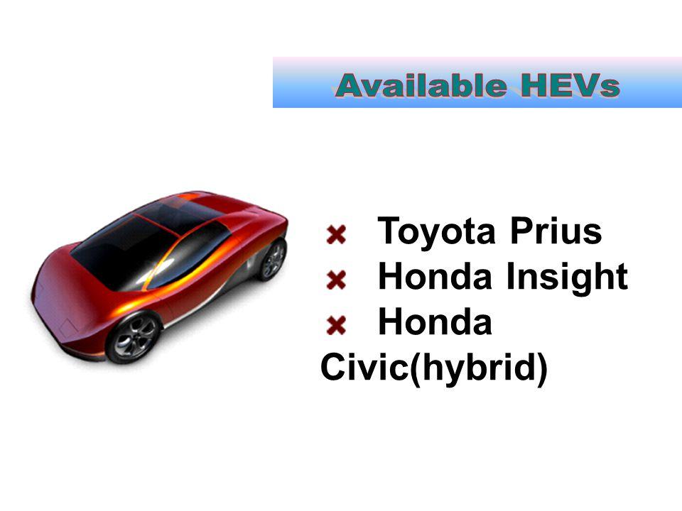 Available HEVs Toyota Prius Honda Insight Honda Civic(hybrid)