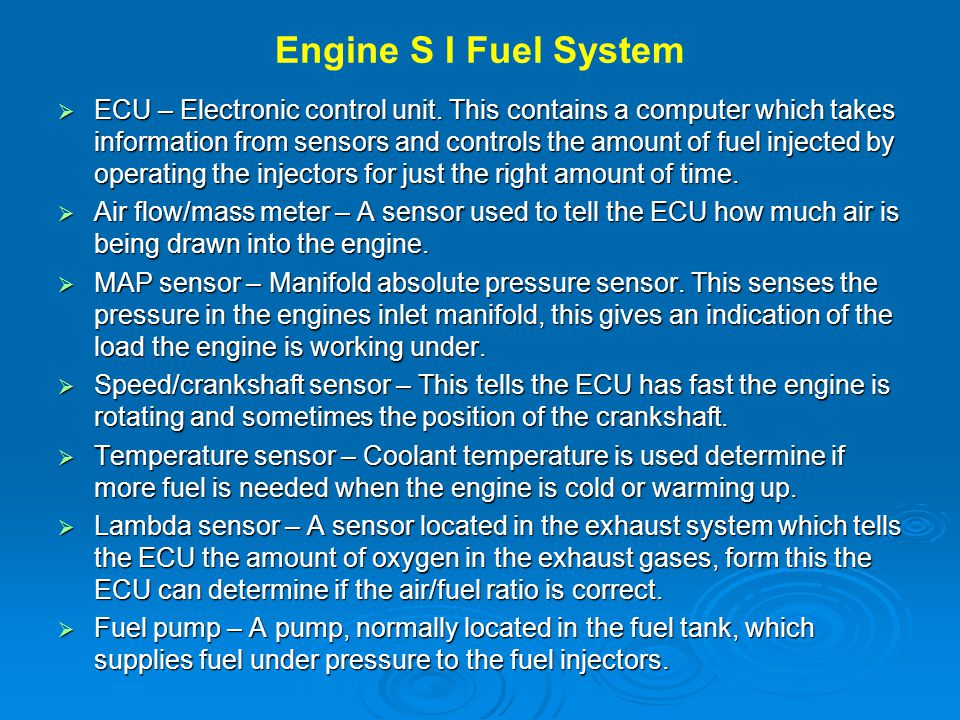 Engine S I Fuel System